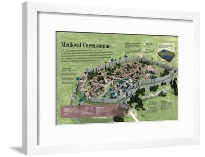 Infographic About the History and Town-Planning of Carcassonne, Medieval French City--Framed Poster