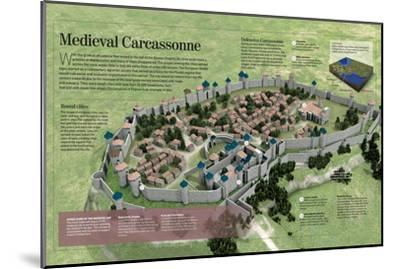 Infographic About the History and Town-Planning of Carcassonne, Medieval French City--Mounted Poster