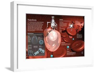 Infographic of the Nanobots, to Detect and Attack Carcinogenic Cells, Provide Medications, Etc--Framed Poster