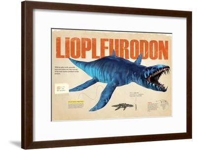 Infographic About the Liopleurodon, a Marine Predator from the Jurassic Period--Framed Poster