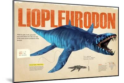 Infographic About the Liopleurodon, a Marine Predator from the Jurassic Period--Mounted Poster