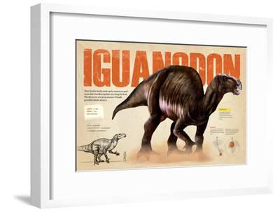 Infographic of the Iguanodon, an Ornithischia Dinosaur in the Cretaceous Period of the Mesozoic Era--Framed Poster