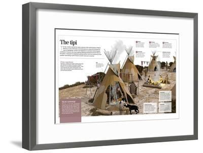 Infographic About the Tipi, Refuge Tent Used by North-American Indians as a House in the 1500S--Framed Poster