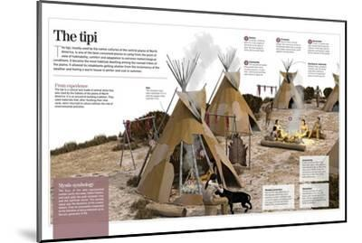 Infographic About the Tipi, Refuge Tent Used by North-American Indians as a House in the 1500S--Mounted Poster