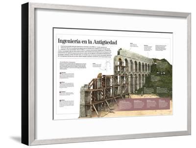 Infografía Sobre Las Obras De Ingeniería Romanas, Con Detalle De La Construcción De Un Acueducto--Framed Poster