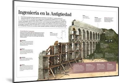 Infografía Sobre Las Obras De Ingeniería Romanas, Con Detalle De La Construcción De Un Acueducto--Mounted Poster