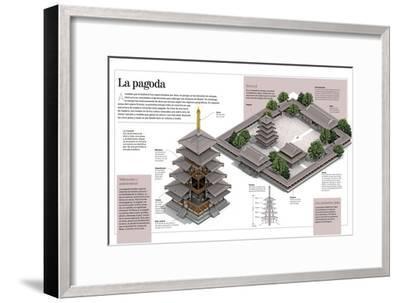 Infografía Sobre Las Pagodas, Concretamente La Del Templo Budista Horyu-Ji, En Japón--Framed Poster