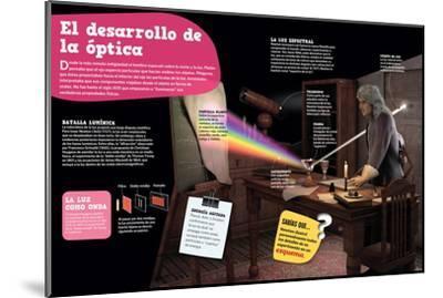 Infografía Sobre La Óptica, Su Evolución Desde La Antigüedad Hasta El Siglo--Mounted Poster