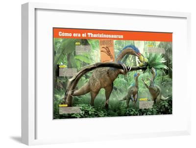 Infografía Del Terizinosaurio, Saurópodo Herbívoro Del Cretácico, Era Mesozoica--Framed Poster