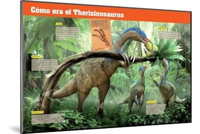 Infografía Del Terizinosaurio, Saurópodo Herbívoro Del Cretácico, Era Mesozoica--Mounted Poster