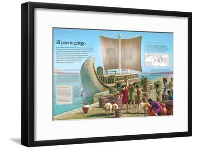 Infografía De Un Puerto De La Grecia Clásica, Principal Ámbito De Intercambio De Mercancías--Framed Poster