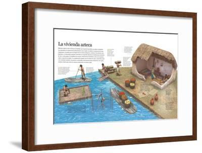 Infografía Del Modo De Vida De Los Aztecas En Su Entorno Cotidiano Y De Su Vivienda--Framed Poster