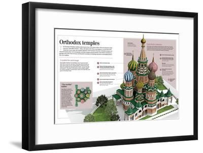 Infographic About Orthodox Temples (Cathedral of Saint Basil). Moscow, Built Between 1555 and 1561--Framed Poster