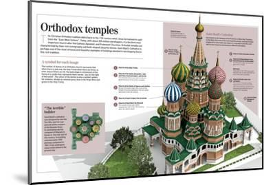 Infographic About Orthodox Temples (Cathedral of Saint Basil). Moscow, Built Between 1555 and 1561--Mounted Poster