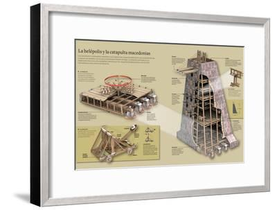 Infografía Sobre La Helépolis Y La Catapulta Macedonias--Framed Poster