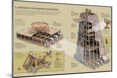 Infografía Sobre La Helépolis Y La Catapulta Macedonias--Mounted Poster