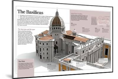 Infographic About the Basilicas, Specifically the Basilica of Saint Peter (The Vatican, Rome)--Mounted Poster