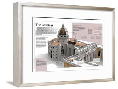 Infographic About the Basilicas, Specifically the Basilica of Saint Peter (The Vatican, Rome)--Framed Poster
