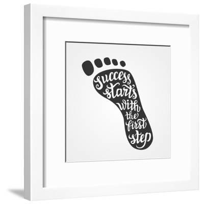 'Success Starts with the First Step' Lettering-Victoria Gripas-Framed Art Print