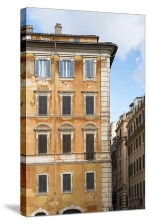 Dolce Vita Rome Collection - Orange Buildings Facade II-Philippe Hugonnard-Stretched Canvas Print
