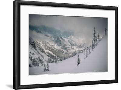 Skier Makes Some Steep Angle Powder Turns In Cascades Of Washington As A Snow Storm Begins To Clear-Jay Goodrich-Framed Photographic Print