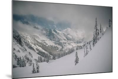 Skier Makes Some Steep Angle Powder Turns In Cascades Of Washington As A Snow Storm Begins To Clear-Jay Goodrich-Mounted Photographic Print