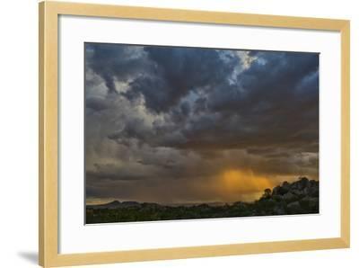 Sun Sets On Mopane Trees & Granite Boulders, Rain Storm Through Damaraland At The Hoada Campsite-Karine Aigner-Framed Photographic Print