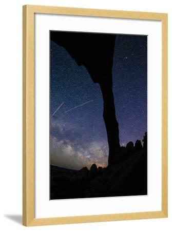 Landscape Arch Silhouetted By Night Sky & Star Trails Of The Moving Earth And Milky Way, Moab, Utah-Jay Goodrich-Framed Photographic Print
