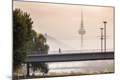 Mannheim, Baden-Württemberg, GER: Male Running Over Bridge Crossing River Neckar On Foggy Morning-Axel Brunst-Mounted Photographic Print