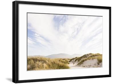 Tramore Beach, Kiltooris, Portnoo, Donegal, Ireland: Woman Walking Through The Dunes Towards Beach-Axel Brunst-Framed Photographic Print