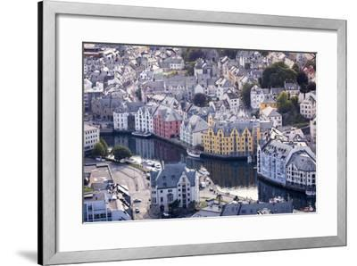 ?lesund, M?re Og Romsdal County, Norway: The Citiy Center Viewed From The Aksla Viewpoint-Axel Brunst-Framed Photographic Print