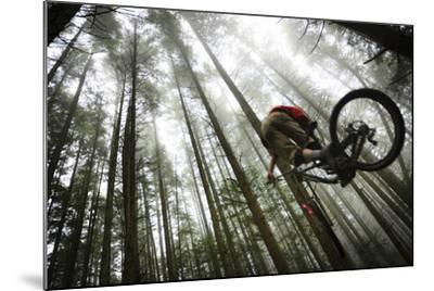 Mountain Biker Catches Air In The Mist Of The Northwest Rainforest Near Bellingham, WA-Jay Goodrich-Mounted Photographic Print