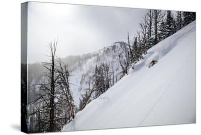 Skier Gets Backlit Powder Deep In The Teton Backcountry After A Massive Winter Storm-Jay Goodrich-Stretched Canvas Print