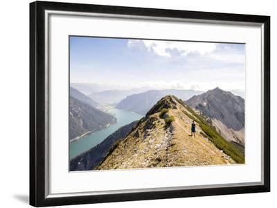 Achensee, Tyrol, Austria: Female Hiker Ridge Between The Mountains Seekarspitze And Seebergspitze-Axel Brunst-Framed Photographic Print