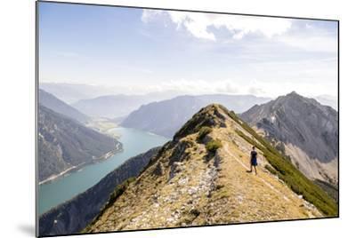 Achensee, Tyrol, Austria: Female Hiker Ridge Between The Mountains Seekarspitze And Seebergspitze-Axel Brunst-Mounted Photographic Print
