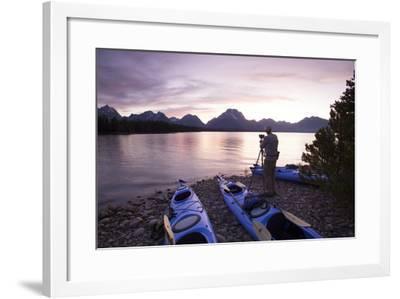 Sea Kayaking Jackson Lake In Grand Teton National Park, WY-Justin Bailie-Framed Photographic Print