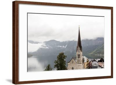 Hallstatt, Salzkammergut Region, Austria: Village By Lake On A Rainy Day With Low-Hanging Clouds-Axel Brunst-Framed Photographic Print