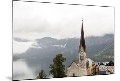 Hallstatt, Salzkammergut Region, Austria: Village By Lake On A Rainy Day With Low-Hanging Clouds-Axel Brunst-Mounted Photographic Print