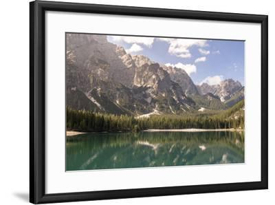 Lake Prags, Prags Dolomites, South Tyrol, Italy: The Mountains And Trees Refelcting On The Lake-Axel Brunst-Framed Photographic Print