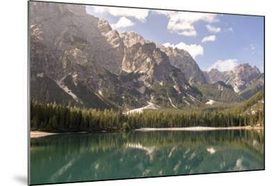 Lake Prags, Prags Dolomites, South Tyrol, Italy: The Mountains And Trees Refelcting On The Lake-Axel Brunst-Mounted Photographic Print