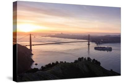 San Francisco, CA, USA: Sunrise View Over The Golden Gate Bridge And The City Of San Francisco-Axel Brunst-Stretched Canvas Print