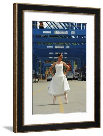 National Ballet Of Panama Dancer In Her Wedding Dress In The City Port-Kike Calvo-Framed Photographic Print