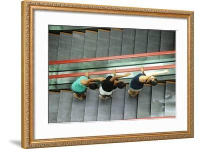 Ballerinas Pose At The Decapolis Hotel In High Heels And Street Clothing-Kike Calvo-Framed Photographic Print