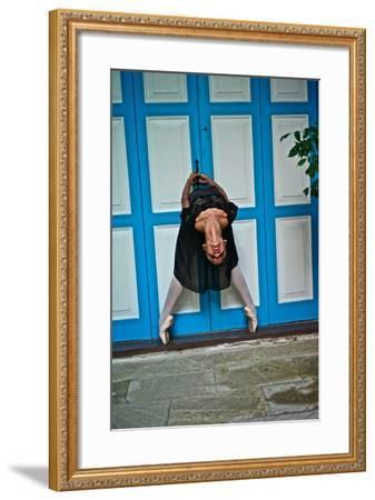 A Classical Ballerina In The Colonial Streets Of Old Havana-Kike Calvo-Framed Photographic Print