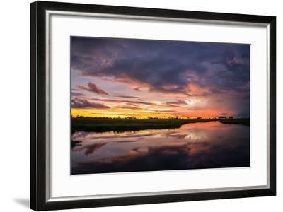 Sunset Above Botswana's Okavango Delta-Beverly Joubert-Framed Photographic Print