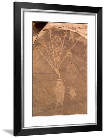 Petroglyph Shapes And Figures Carved Into Sandstone, Dinosaur National Monument-Mike Cavaroc-Framed Photographic Print