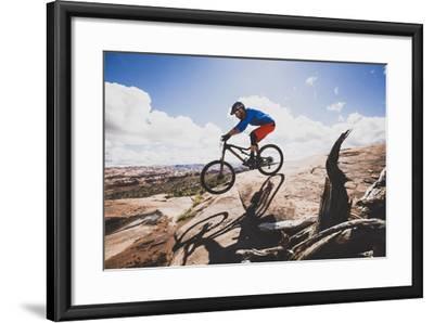 Ben Duke Mountain Biking Captain Ahab Trail, Moab, Utah-Louis Arevalo-Framed Photographic Print