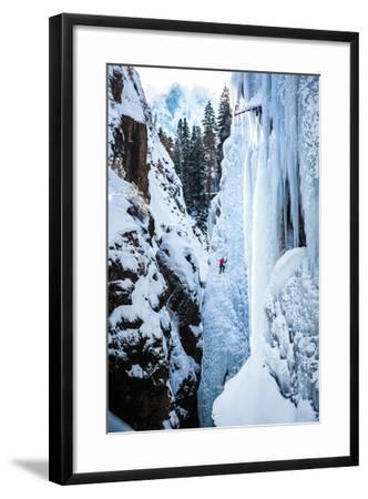 An Ice Climber Ascends A Route In Ouray, Colorado-Dan Holz-Framed Photographic Print
