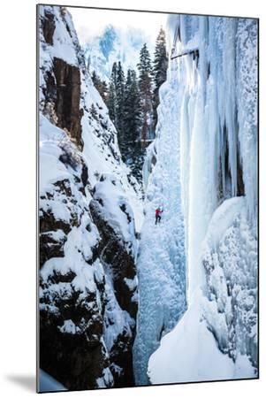 An Ice Climber Ascends A Route In Ouray, Colorado-Dan Holz-Mounted Photographic Print
