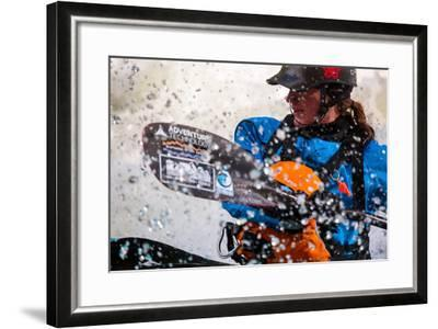 A Female Kayaker Playboating In A Drysuit On Pipeline Wave On The Lochsa River In Idaho-Ben Herndon-Framed Photographic Print